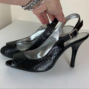 Calvin Klein Black Kona Snake/Patent Slingback 10M